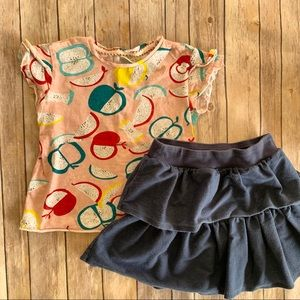Zara girls Apple top and skirt